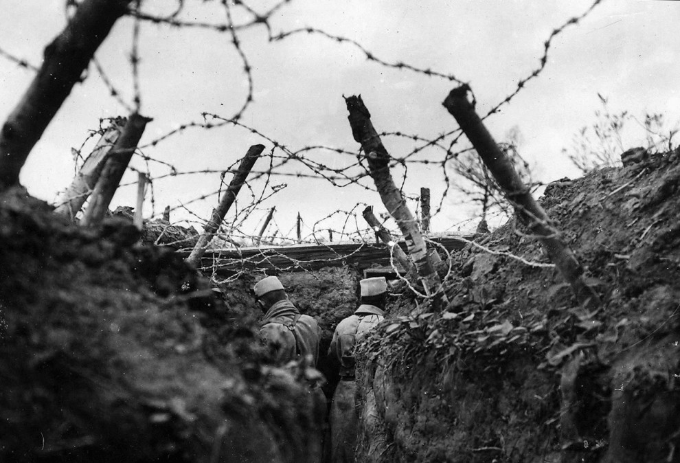 Германская пехота в окопах под двинском